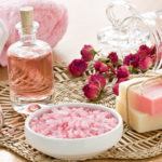 SPA set with sea salt rose aroma oil and soap bar